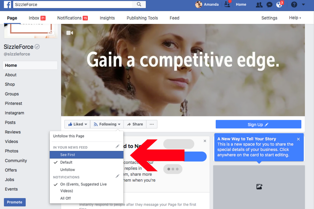 How to select see first on Facebook, SizzleForce Marketing on Facebook, Facebook marketing 2018