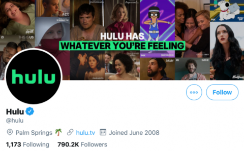 Screenshot of Hulu's social media bio for Twitter.