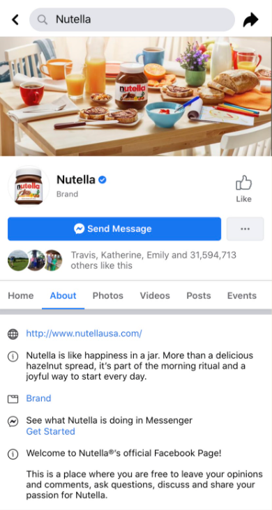 Screenshot of Nutella's social media bio on Facebook.