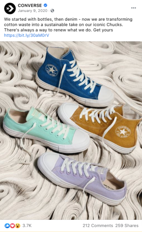 This Converse FB post is an excellent example of going green.