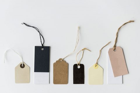 A variety of price tags.