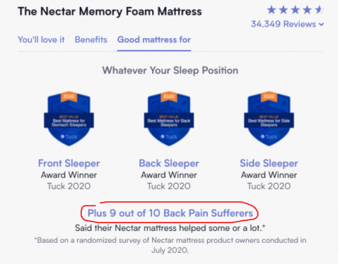 Nectar uses stats on their sales page.