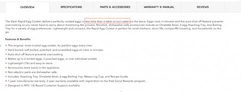 This Rapid Egg Cooker page uses descriptive language to highlight benefits.