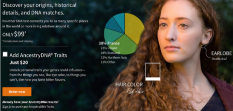 Product images can help clarify features, like this Ancestry product page example.