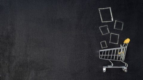 Chalkboard image of shopping cart.