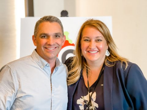 Ryan Deiss and Stephanie Nivinskus at the 2021 Traffic and Conversion Summit.