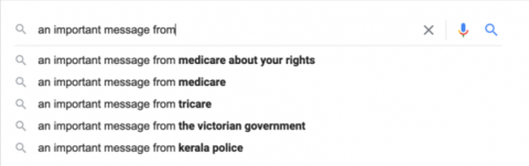 """Google predictive text results for """"an important message from."""""""